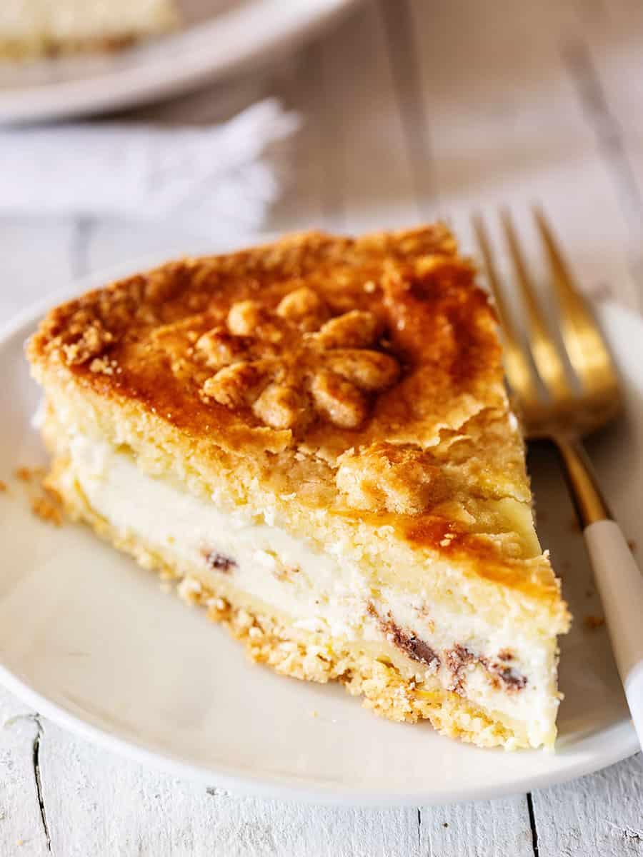 A slice of Italian ricotta cake.