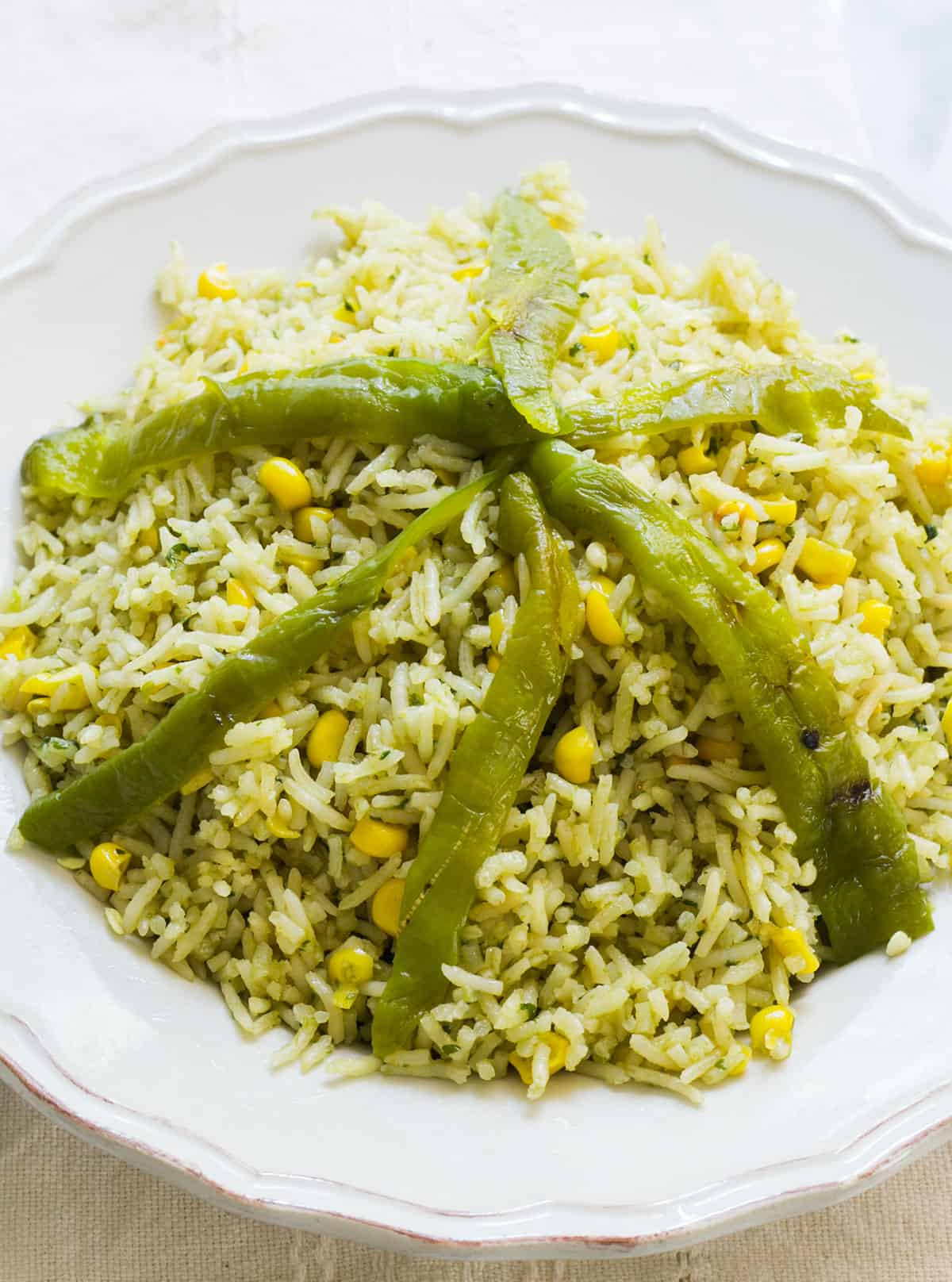 Mexican green rice close up.