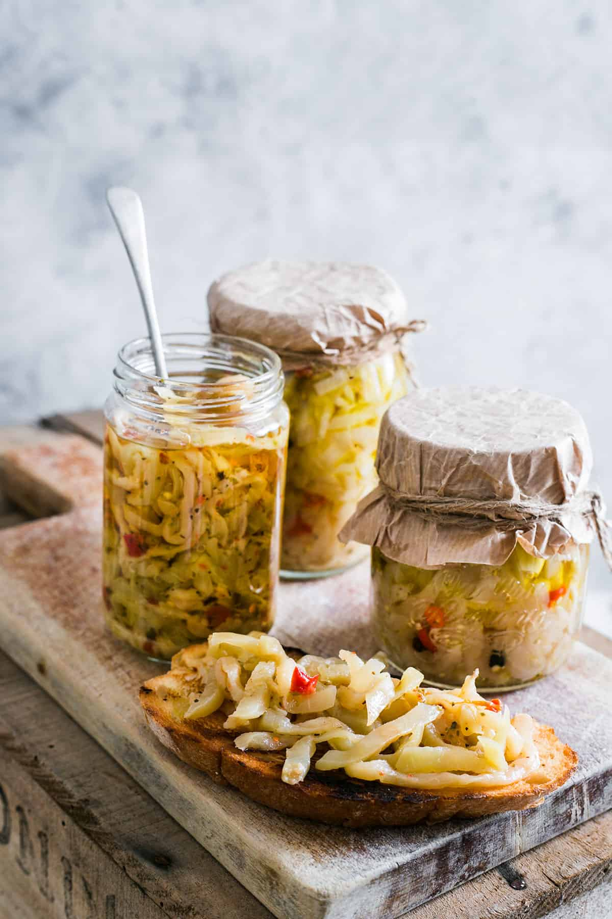 Italian pickled eggplant with olive oil.
