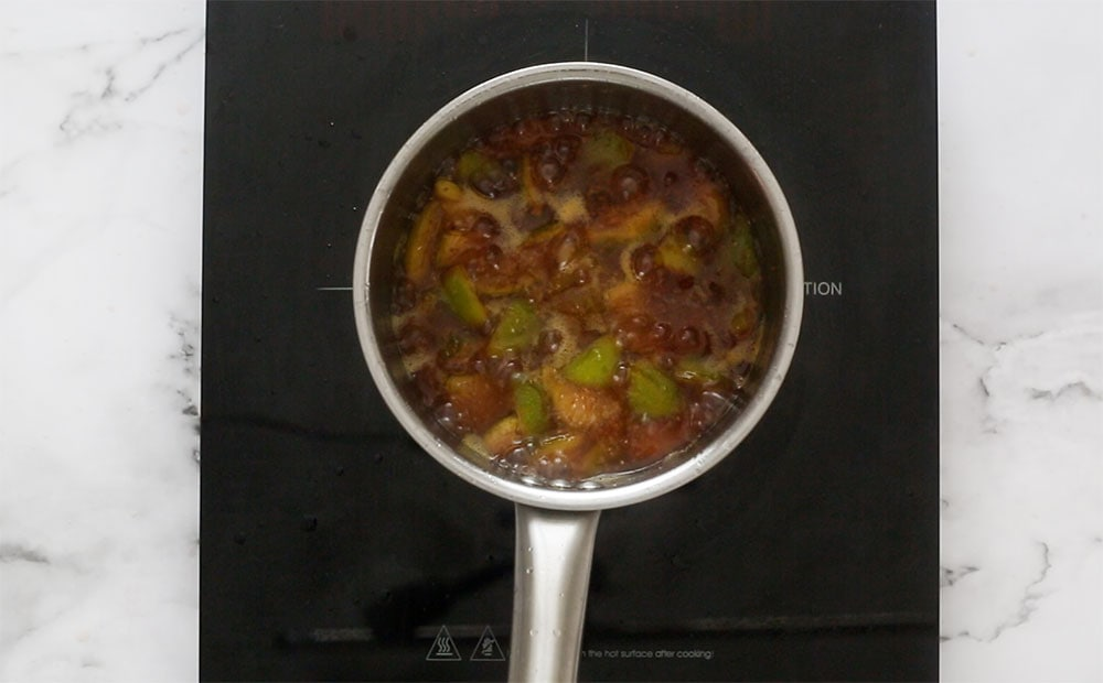 Fig mixture cooked on a sauce pan.