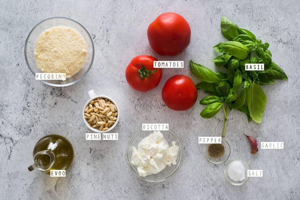 Pesto Rosso ingredients (pecorino, tomatoes, basil, ricotta, pine nuts, extra virgin olive oil, garlic, salt and pepper).