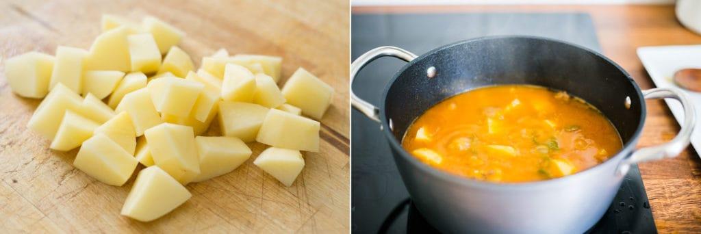 Últimos pasos del picadillo con papas: Las papas cortadas en cubos. El guisado de picadillo cocinándose en la cazuela junto con las papas.