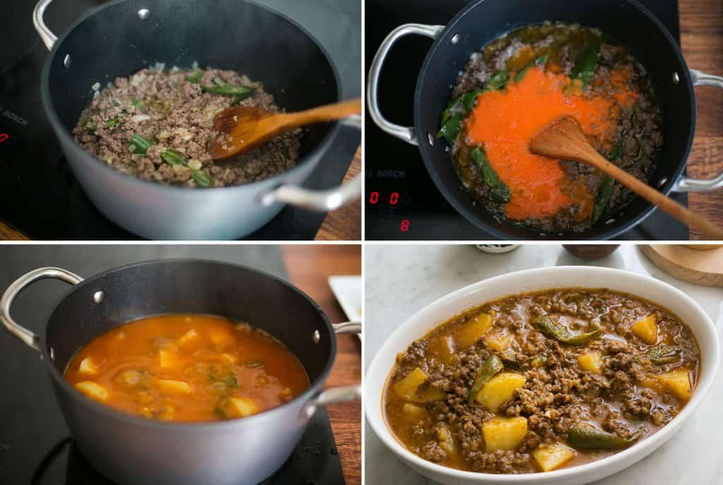 sopes de picadillo - steps 1.- saltear la carne con la cebolla y los chiles. 2.- agregar la salsa de tomate. 3.- agregar las papas. 4.- picadillo listo en la mesa.