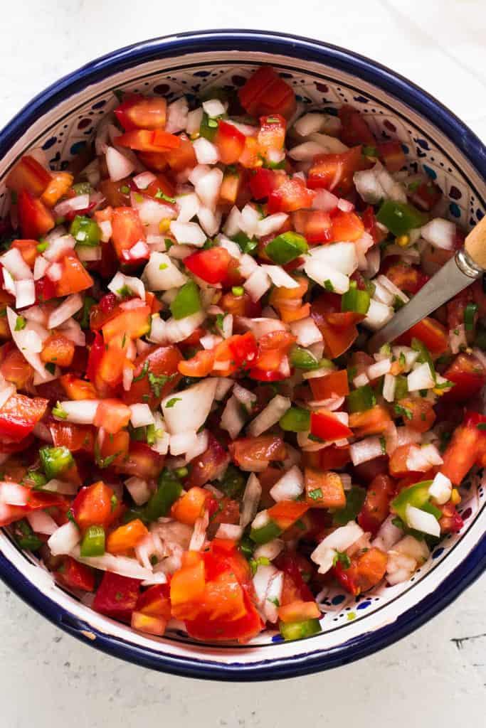 Receta mexicana de salsa pico de gallo