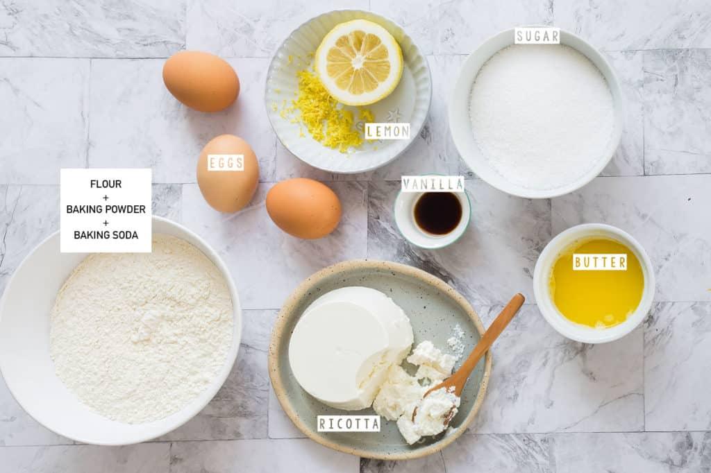 Lemon ricotta cake recipe ingredients.
