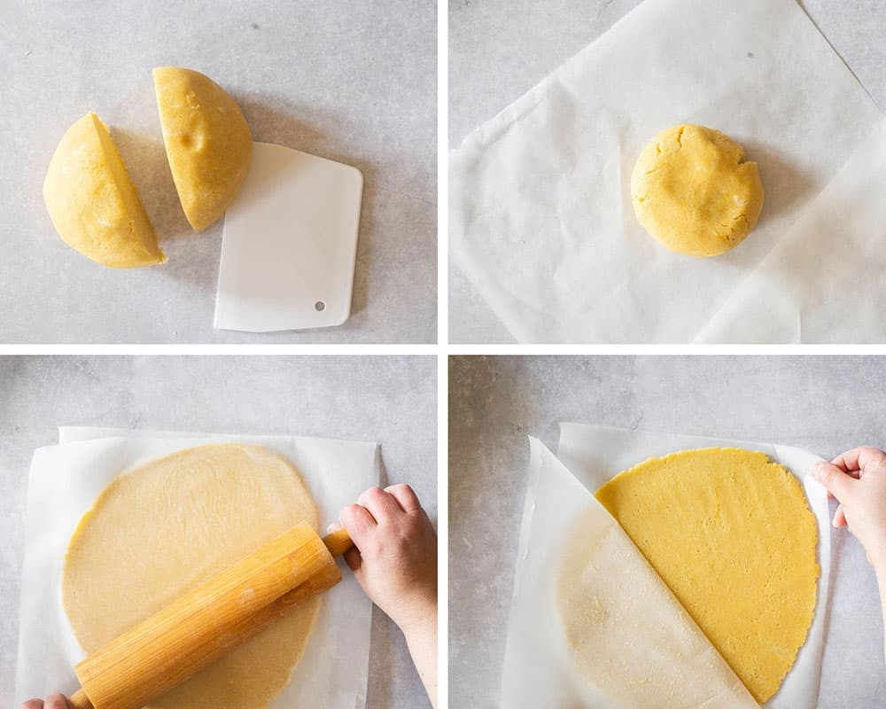 Rolling the dough into a round, thin shape.