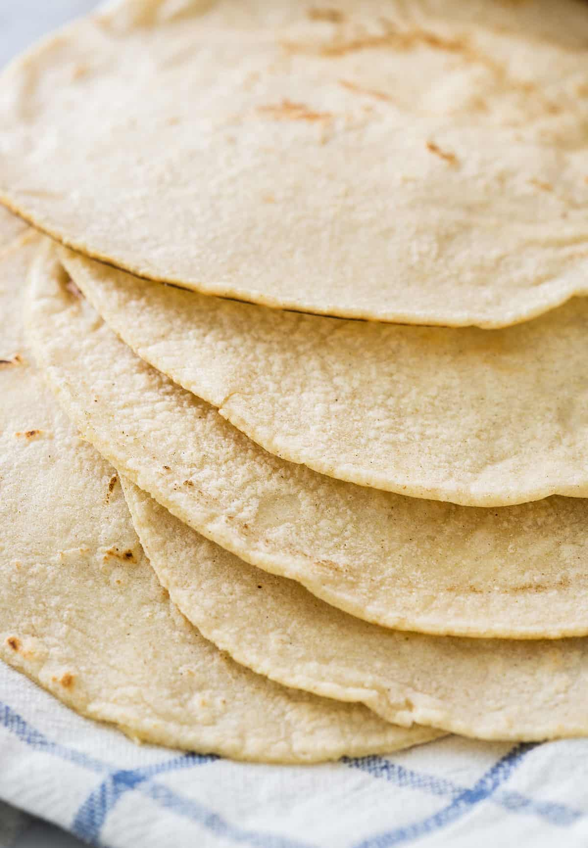 A close up of corn tortillas texture.