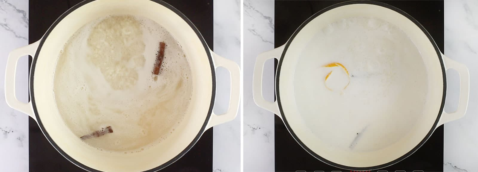 Arroz con leche in a pot. Pictured before and after adding the milk.
