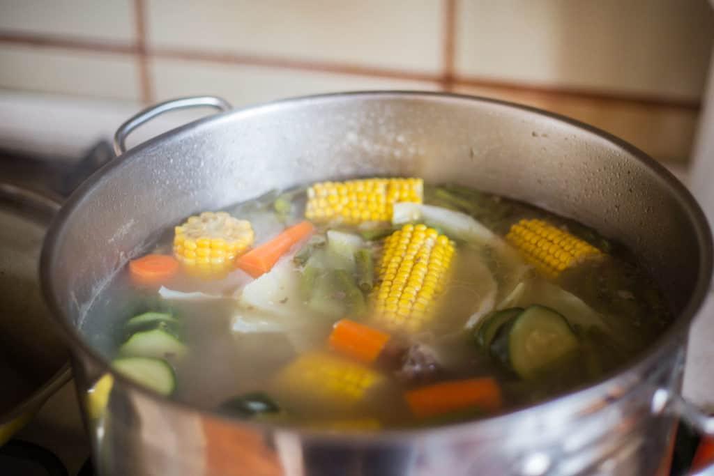 mexican caldo de rest in a pot.