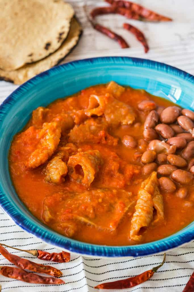 chicharron en salsa roja (pork cracklings in red spicy sauce) served with beans and corn tortillas.