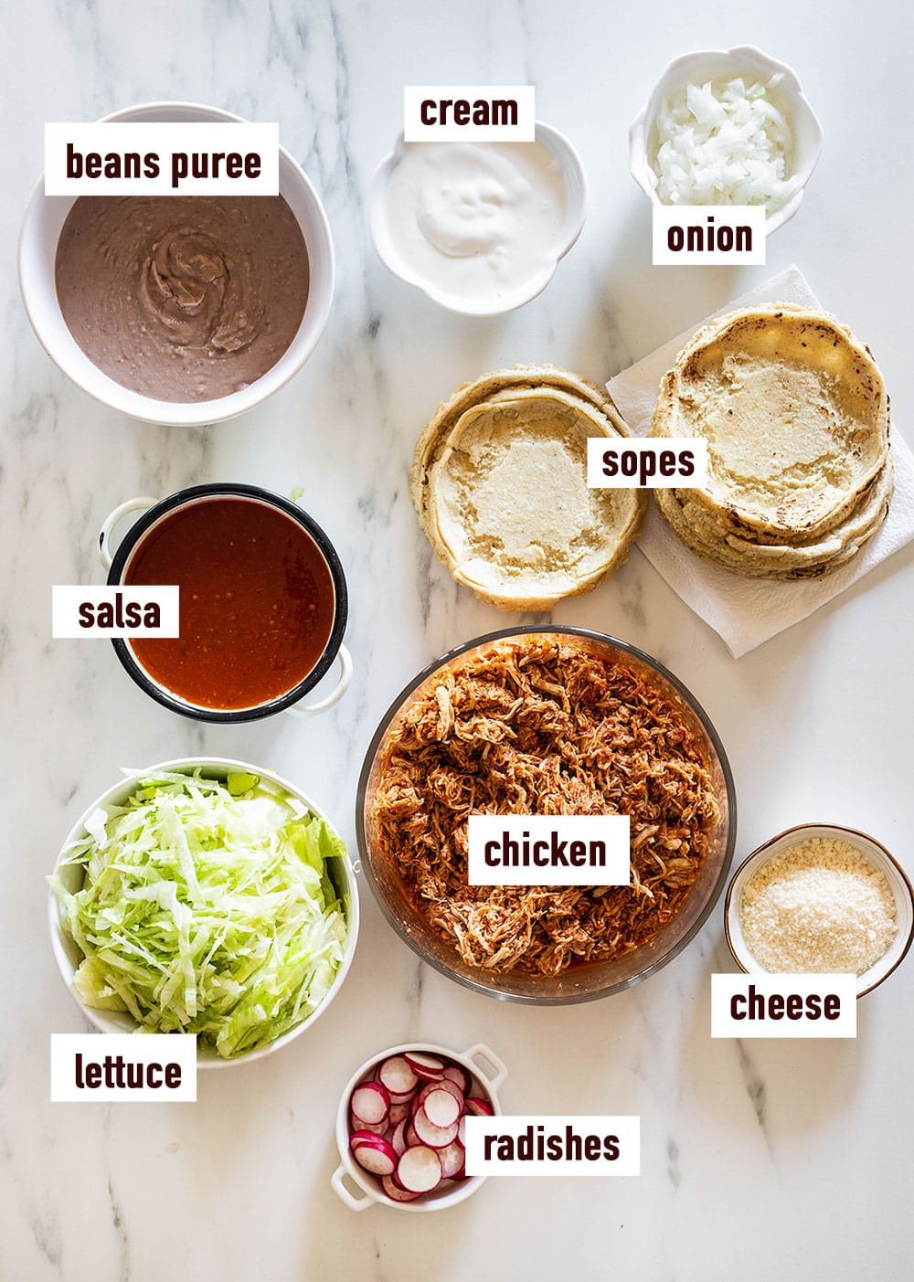Ingredients for chicken sopes displayed on a white surface and labeled with names.