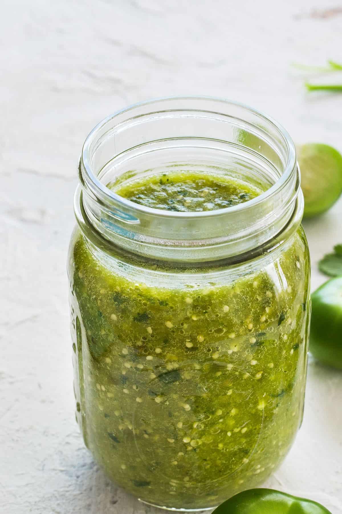 Salsa verde on a jar.
