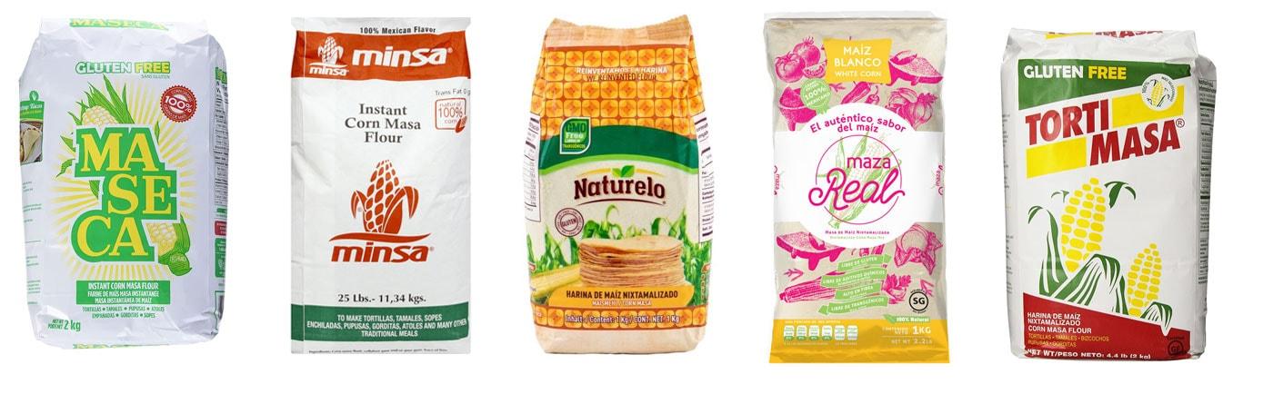 Various masa harina brands.