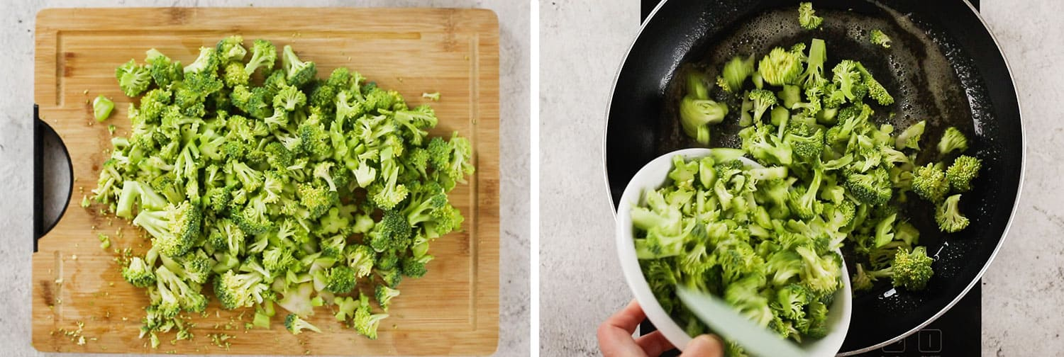 Left image: Broccoli cut into florets on a cut board.  Right image: Broccoli being added to the pan.