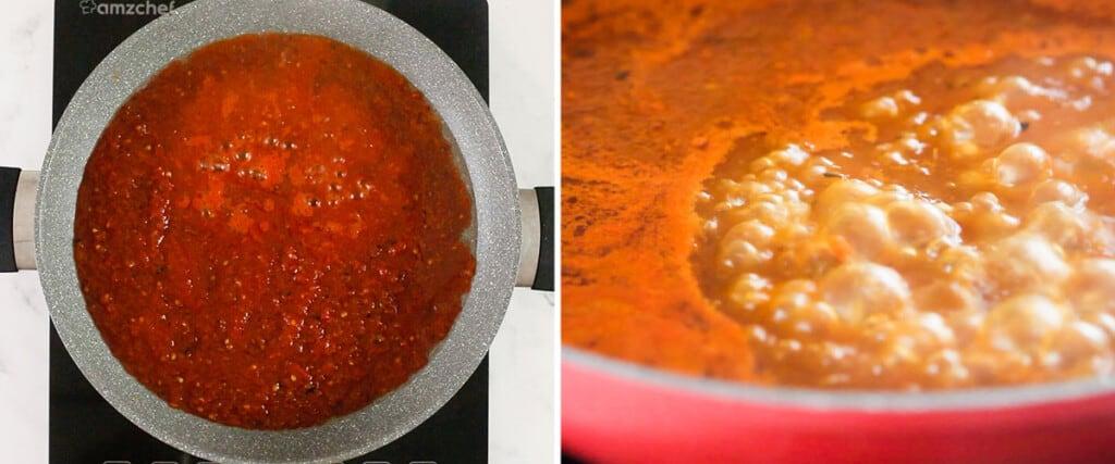 La salsa cocinándose en una cazuela.