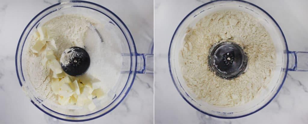 Dos imágenes mostrando: A la izquierda los ingredientes (mantequilla, harina y azúcar) dentro el robot de cocina. A la derecha: Los ingredientes ya trabajados en el robot de cocina.