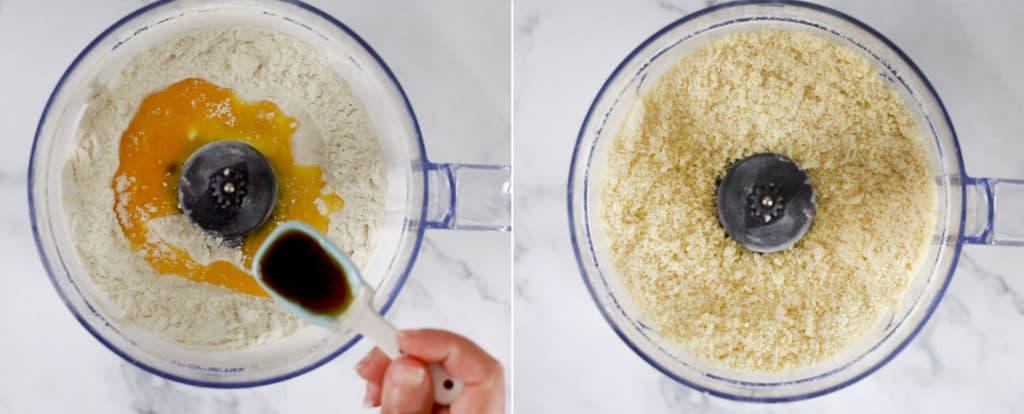 Agregando el huevo y la vainilla. A la derecha, foto con los ingredientes ya trabajados en el robot de cocina.