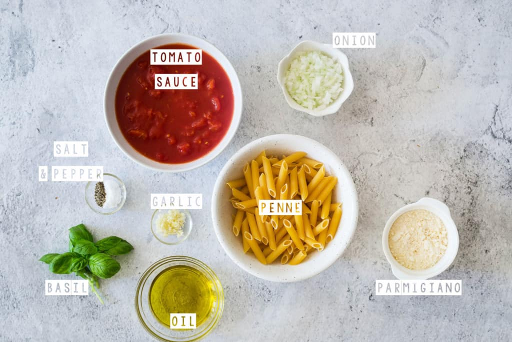 "Ingredients displayed on a grey surface to make ""penne pomodoro""."