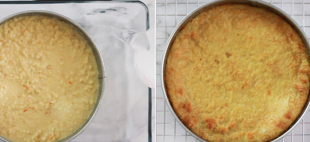 Mexican bread pudding before and after baked.