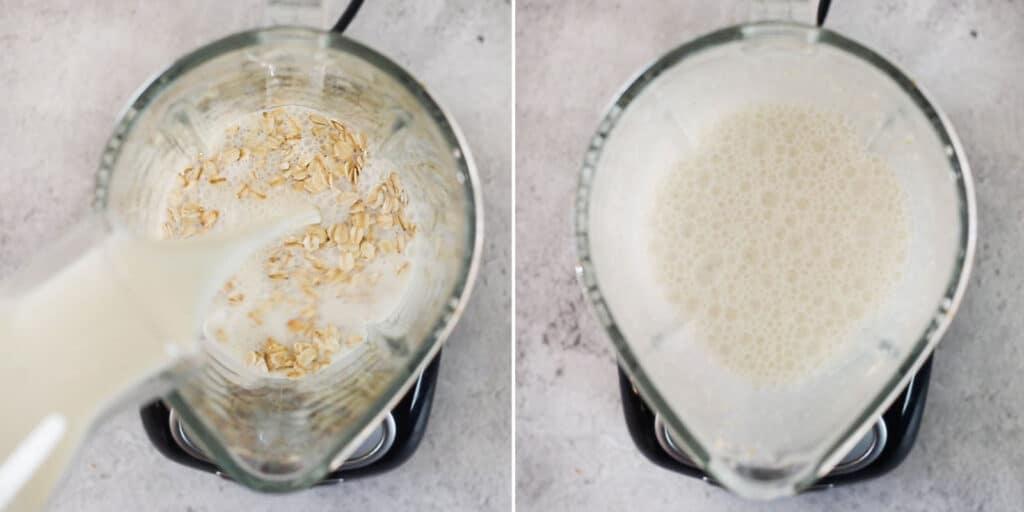 Licuando la avena con la leche.