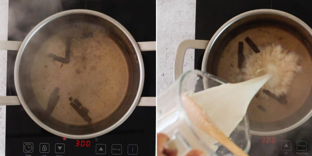 Boiling water with cinnamon and adding blended oats to the pot.