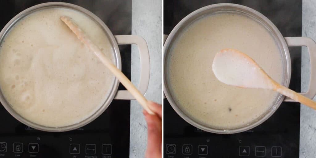 Oatmeal atole cooking and ready.