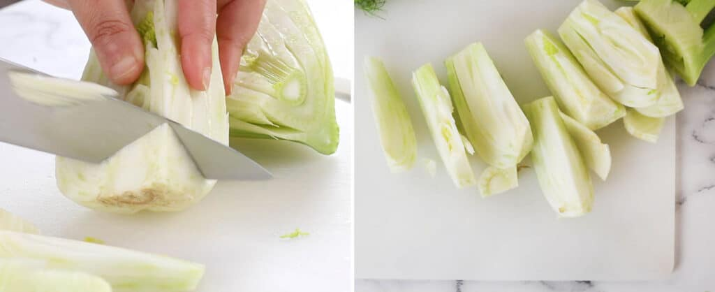 Showing how to cut fennel bulbs.