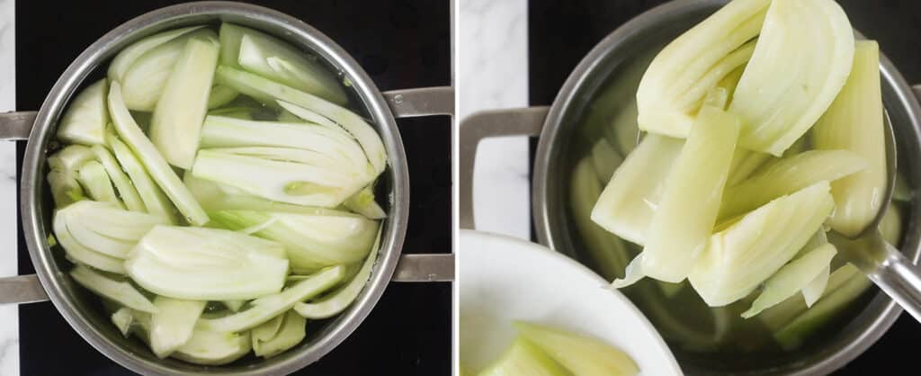 Cooking fennel wedges into boiling water and then draining with a spoon.