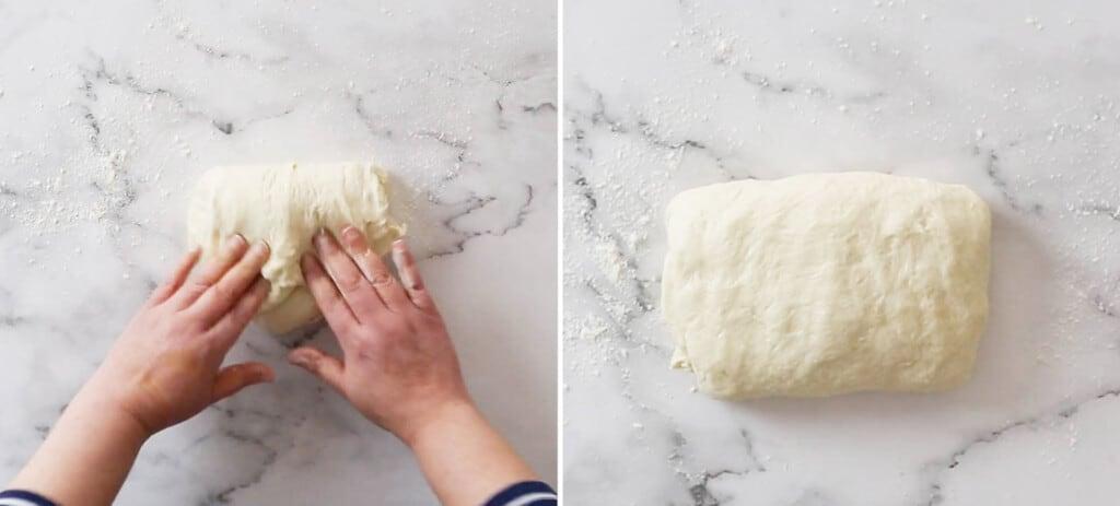Folding the dough into a rectangle.