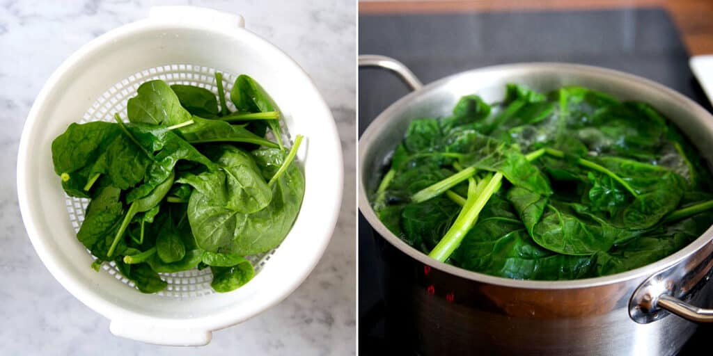 Espinacas frescas en un colador. Espinacas cociéndose en una olla con agua.
