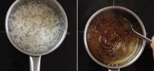 A collage with two stages of caramel being cooked on a sauce pan.