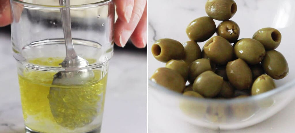 Making the brine and placing the olives in a small bowl.