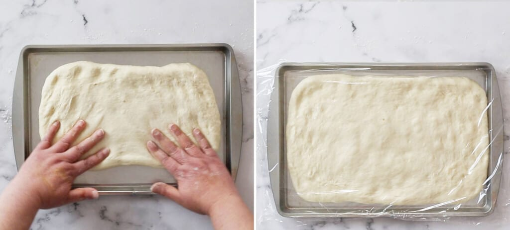 Placing the dough on the baking tray.