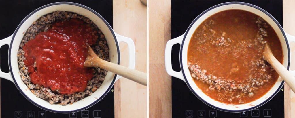 Poniendo la salsa de tomate y enseguida el agua.