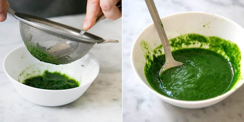 Haciendo el puré de espinacas. El puré de espinacas en un cuenco.