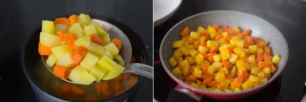 Cociendo las papas y zanahorias. Friendo las papas y zanahorias en una sartén.