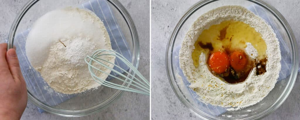 Mixing flour with ingredients.