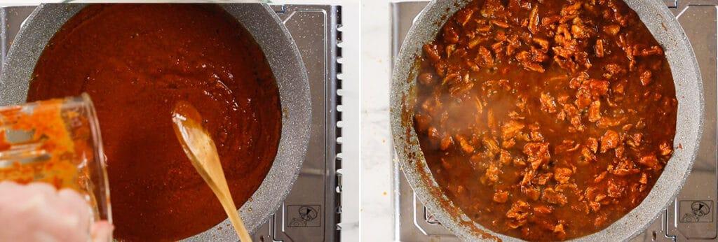 Cocinando la salsa. Cocinando la carne con la salsa.