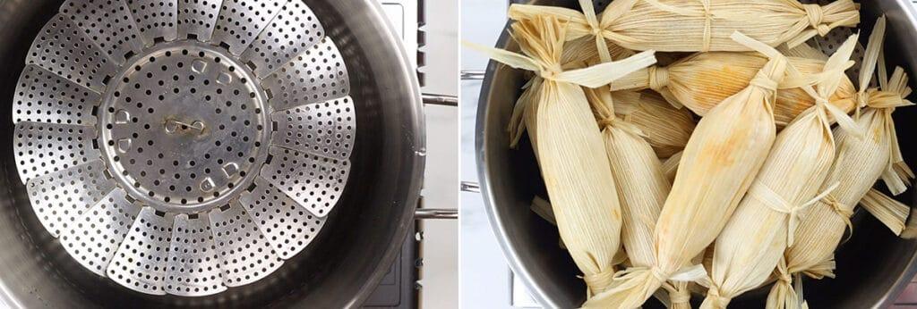 La olla vaporera. Los tamales acomodados en la olla antes de cocerse.