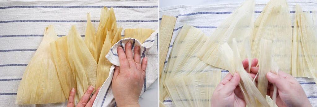 Secando las hojas de maíz y haciendo las tiras para amarrar los tamales.
