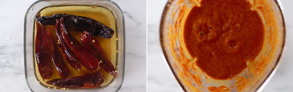 Soaking chillies in hot water. Blended sauce.