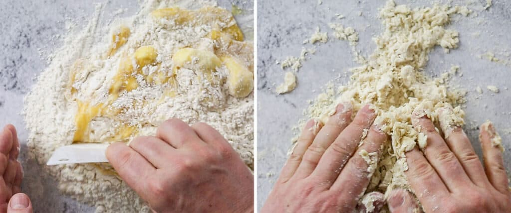 Combining the flour and wet ingredients with hands.