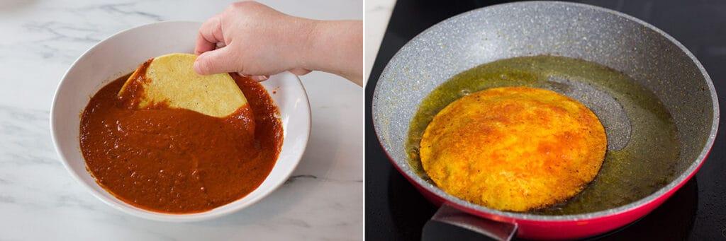 Remojando la tortilla en la salsa. Friendo la tortilla en aceite.
