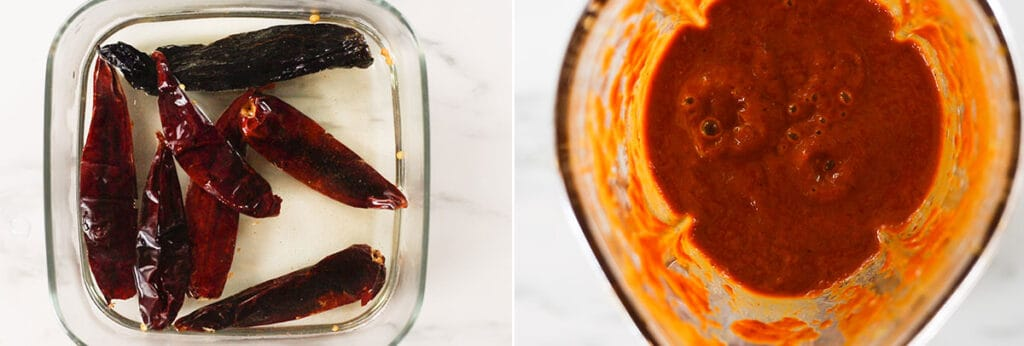 Remojando los chiles y la salsa ya molida.
