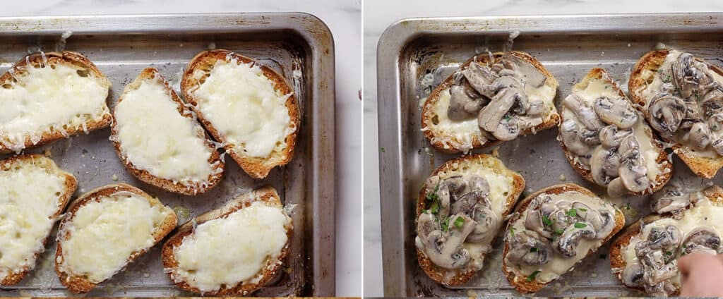 Melting cheese. Finishing bruschetta with mushrooms, sprinkling parsley.