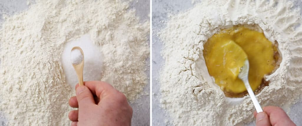 Preparing the flour with sugar and salt, then beating the eggs inside the flour well.