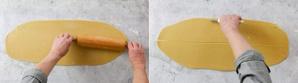 Rolling the dough with a rolling pin. Cutting the dough in two rectangles.