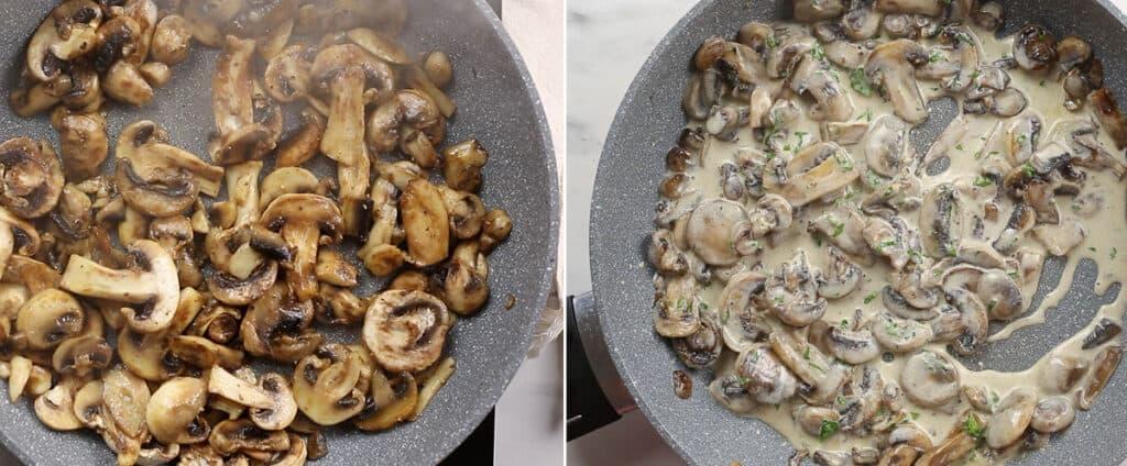Sauteeing mushrooms. Mushrooms mixed with cream.