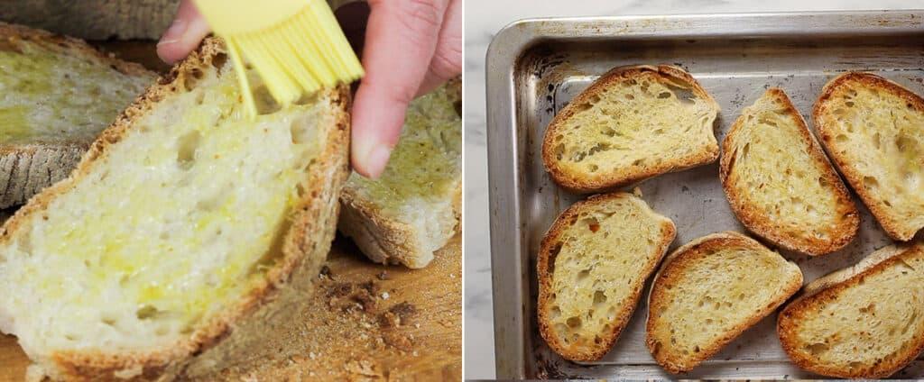 Toasting bread.