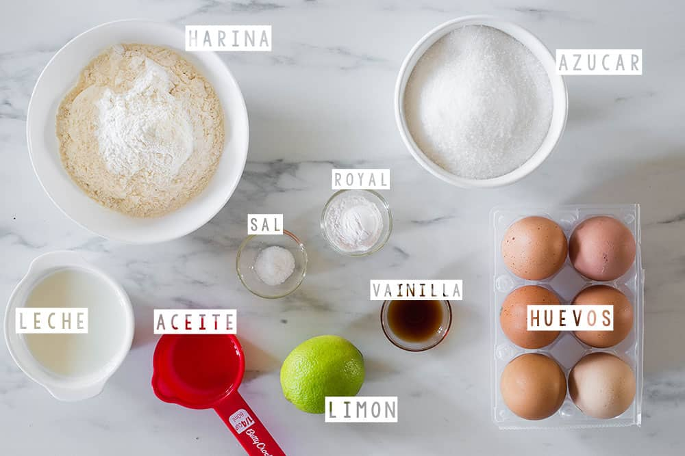 Ingredientes para pastel tres leches.